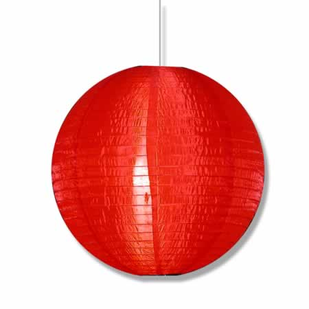 "Pure Red Hanging Asian Lantern in 16"" diameter"