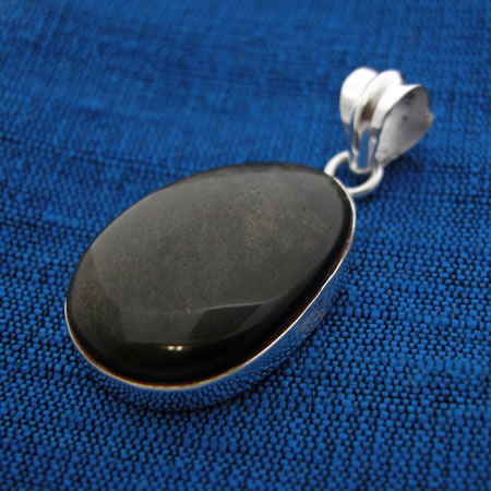 Wholesale golden sheen obsidian and sterling silver pendant
