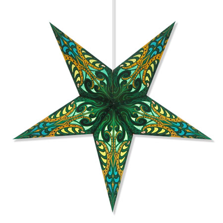 Andromeda paper star lamps in green wholesale hanging lanterns for Paper star lamp