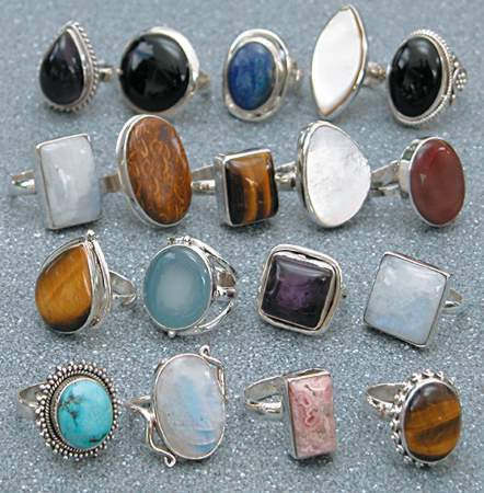wholesale silver ring image: wholesale sterling silver rings with cabochon stones