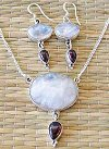 Two stone silver necklace