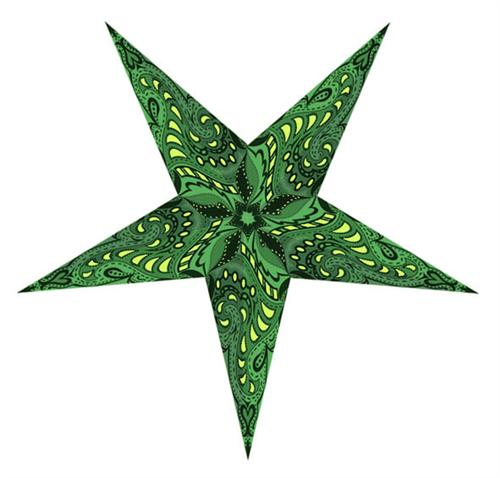 Paper star lamp with green bsckground.