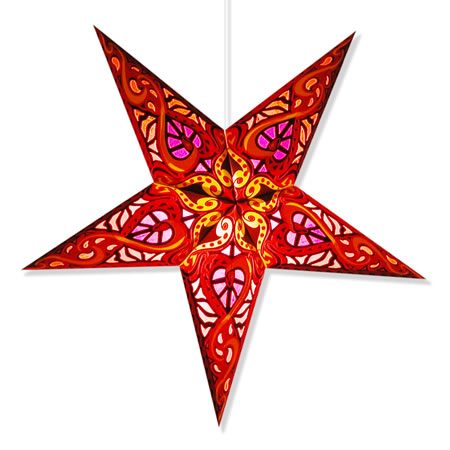 Celtic paper star lamp in red for Paper star lamp