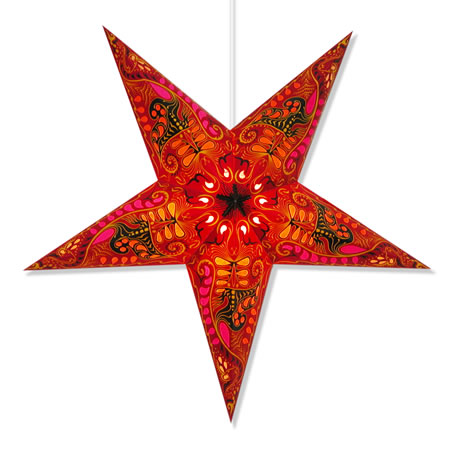 Paper star lamp with filigree design.