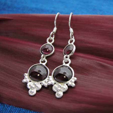 wholesale silver and garnet earrings