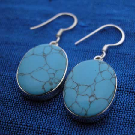 semiprecious stone earrings set in silver
