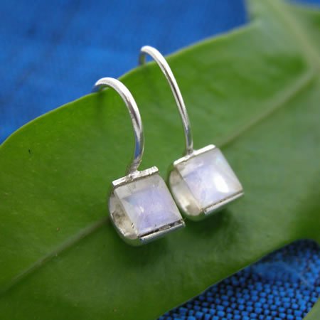 Wholesale Sterling Silver Earring With Square Faceted Stone In Simple Setting