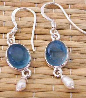 Wholesale Sterling Silver Bezel Earring With Pearl Dangle
