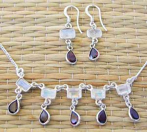 Squares and teardrops necklace rainbow moonstone with garnet