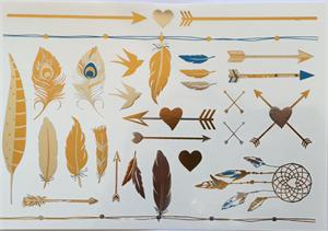 gold and turquoise metallic tattoo arrows and feathers