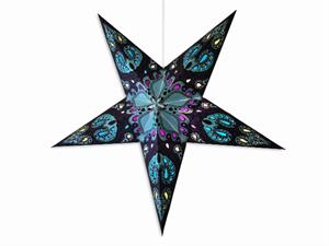 Paper star lamp with blue monstera design.